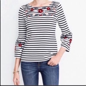 J. Crew Floral Neck Bell Sleeve Blouse